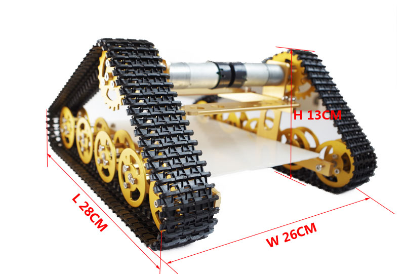 Yellow T400 Aluminum Alloy Metal Wall-E Tank Chassis Robot Crawler Tracked Model