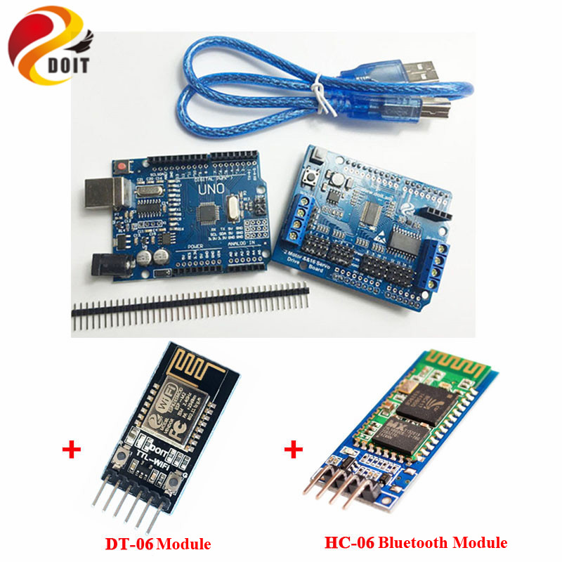 WiFi/Blutooth Robotic Controller Kit Servo Motor Driver Board DT-06 Serial WiFi HC-06 Bluetooth Module for Arduino