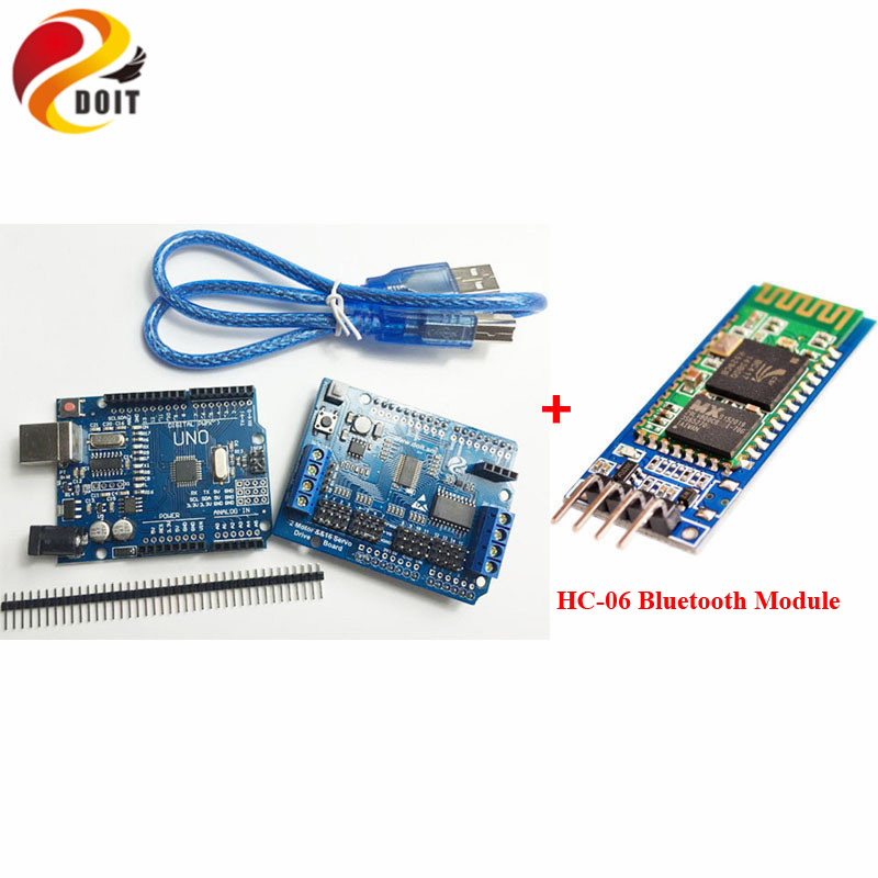 Robotic Controller Kit for robot tank car chassis with servo motor driver board  HC-06 Bluetooth Module compatible with Arduino UNO