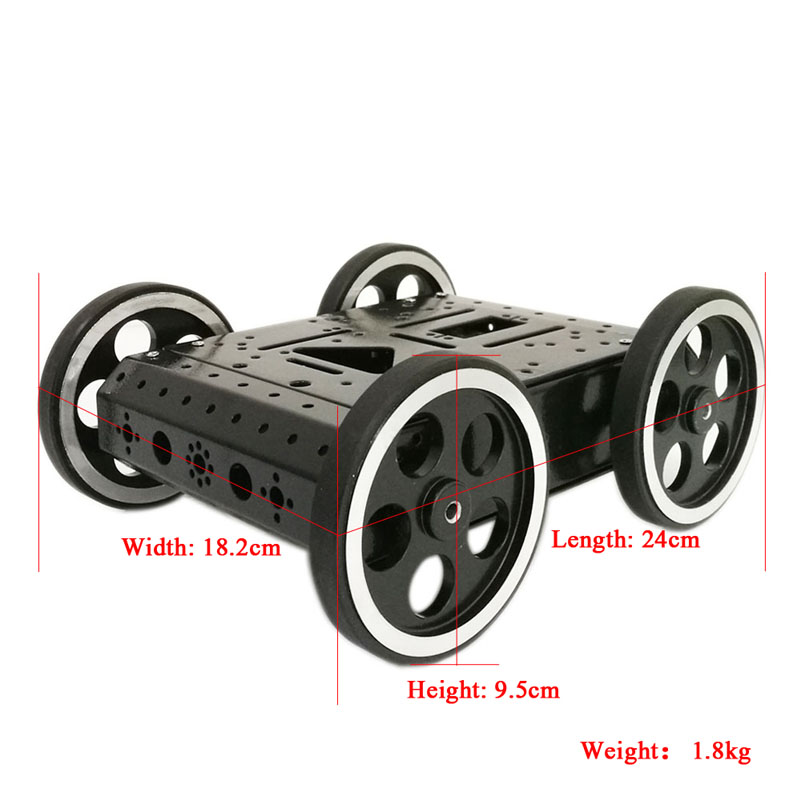 C3 4WD Smart Robot Car with High Hardess of Steel, 4pcs DC 12V Motor, 95mm Steel Wheel, High Loading Capacity