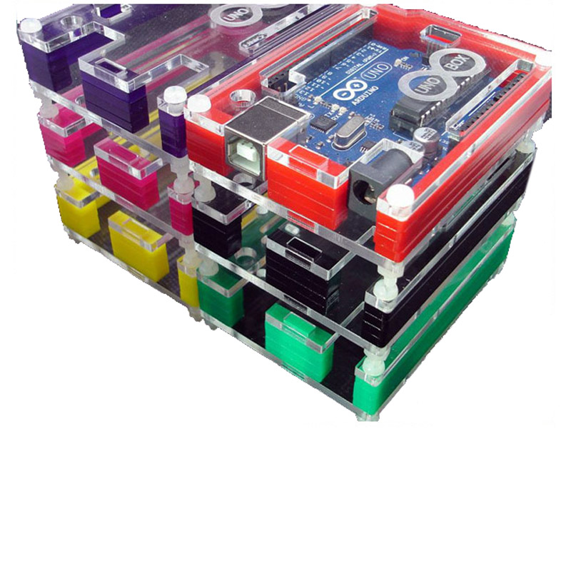 Arduino Protective Box UNO R3 Acrylic Case ATMEGA Pibox Multicolor Rainbow Shell Protection Cover